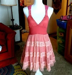 FREE PEOPLE ballerina pink lace crochet tulle dres